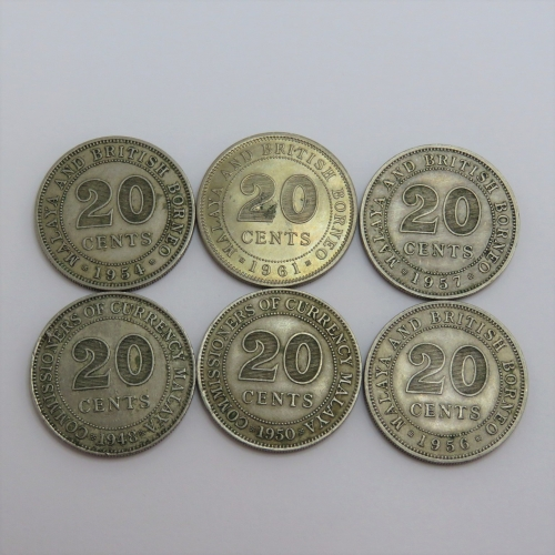 Malaya & British Borneo 20 cents - 1948, 1950, 1954, 1956, 1957, 1961