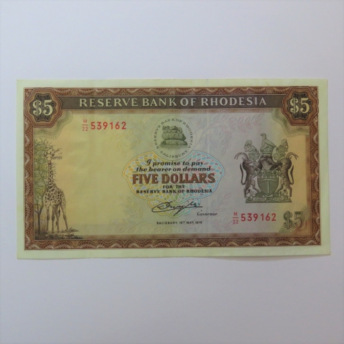 Reserve Bank of Rhodesia Five Dollars 15 May 1979 AU with creases
