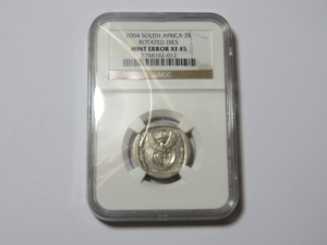 South Africa 2004 Error coin R2 - rotated dies - graded mint error XF45 by NGC