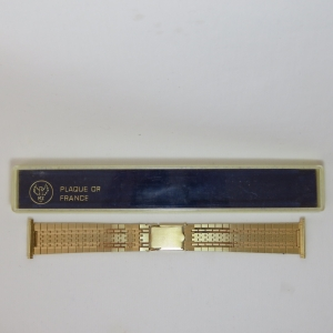MZ gold plated mens watch strap - 22 mm lug width