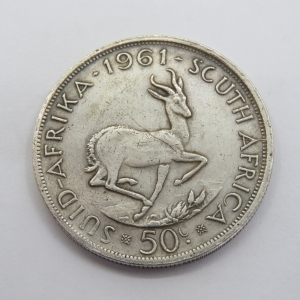 South Africa 1961 coins 50c with various faults - wrong weight, SCUTCH instead of SOUTH , leg not collected to body - PRISON COPY?