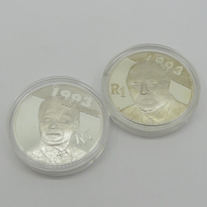 South Africa De Klerk & Mandela R1 Silver coins in original capsules untouched - will grade very high