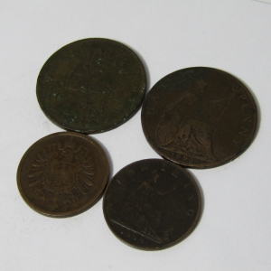Lot of 4 antique coins each one over 100 years old