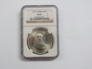 1961 Republic of South Africa crown (50cent) graded PF 67 by NGC A TOP COIN 7530 minted