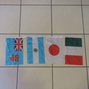 Rugby world cup promotional flag-strap - Italy, Japan, Uruguay and Fiji - Flag size 30 x 18 cm each
