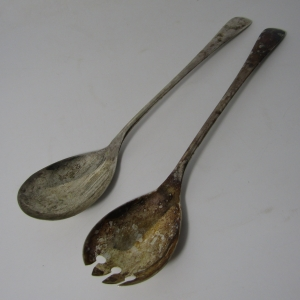 Set of Silver plated salad spoons - EPNS