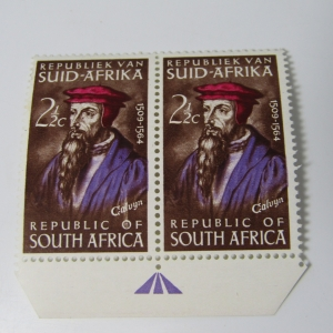 SACC 247 Calvin's Death 2 1/2 cent stamps ( Pair) with white flow on & above O of OF - left side stamp
