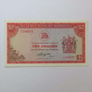 Reserve Bank of Rhodesia Two Dollars - 5 August 1977 Crisp uncirculated