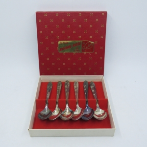 Set of 6 vintage Bridal Rose EPNS teaspoons in box