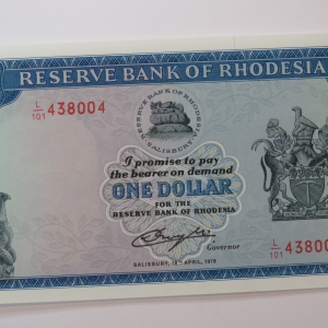 Reserve Bank of Rhodesia One dollar 18 April 1978 Crisp uncirculated