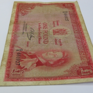 Reserve Bank of Rhodesia One Pound G8 Salisbury 12 October 1964 - Fine