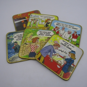 Set of 6 Adult humor cartoon coasters