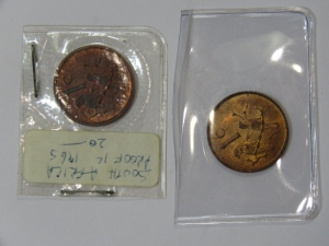Set of English 1 cents - 1965 Proof and 1965 UNC Very Scarce