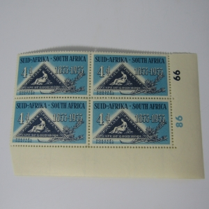 SACC 144 Centenary of Cape Triangular 4d stamp with left & downward shift of dark blue printing
